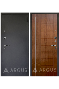 Входная металлическая дверь Аргус Люкс Про Фриза (черный шелк - золотой дуб)