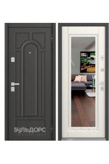 Входная металлическая дверь Бульдорс 45 new Ясень пепельный N-2 зеркало / Вуд дуб белый Т-5