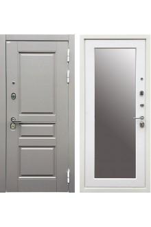 Входная металлическая дверь Ратибор Лондон 3К Зеркало  Силк сноу