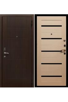 Входная  металлическая дверь Протектор белёный дуб чёрное стекло.