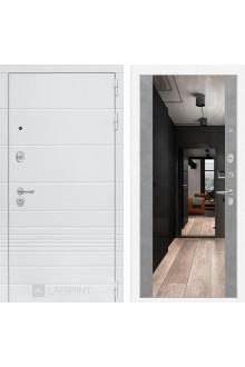 Входная металлическая дверь Лабиринт Трендо Зеркало Максимум Белый камень - Бетон светлый