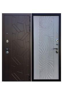 Входная  металлическая дверь Ратибор Витраж 3К Лиственница беж