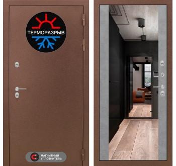 Уличная дверь Лабиринт Термо Магнит с Зеркалом Максимум Бетон светлый