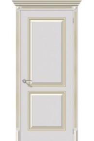 Межкомнатная окрашенная дверь Блюз пг белое золото