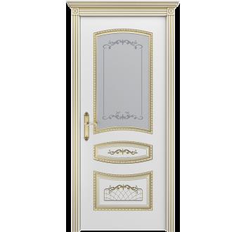 Межкомнатная дверь Соната белая + патина золото со стеклом