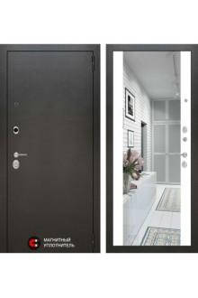 Входная металлическая дверь Лабиринт SILVER с зеркалом (Белый софт)