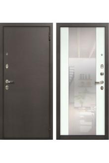Входная  дверь Лекс 1А Стиль с зеркалом -Антик медный / Ясень белый-панель №61