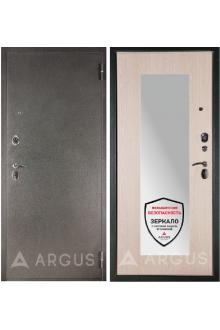 Входная металлическая сейф дверь с зеркалом Аргус ДА 17/3 Белёный дуб