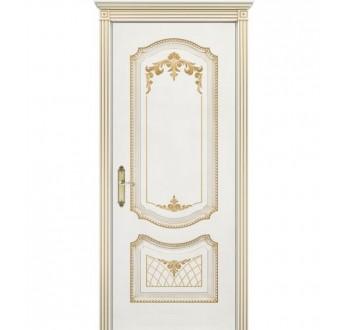 Межкомнатная дверь Соло - С белая + патина золото глухая