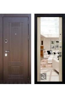 """Входная металлическая дверь Кондор Мадрид с зеркалом """"Беленый дуб"""""""