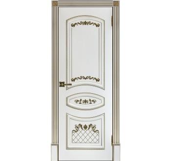 Межкомнатная двери Алина-2  пг Эмаль белая с золотой патиной