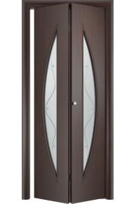 Межкомнатная дверь складная Тип С-06 венге стекло