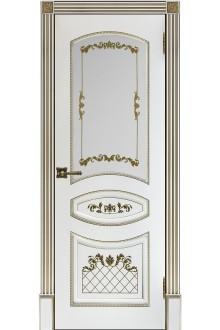 Межкомнатная двери Алина-2 по Эмаль белая с золотой патиной