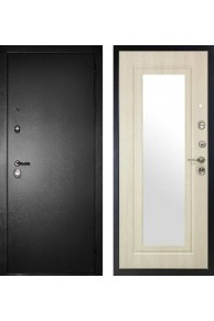 """Входная металлическая дверь Сударь МД-26 """"Серебро / Беленый дуб"""" с зеркалом"""