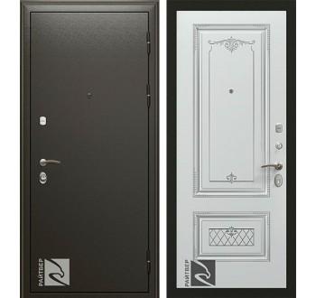 Входная металлическая дверь Райтвер Премьер Аккорд  Белая эмаль патина серебро