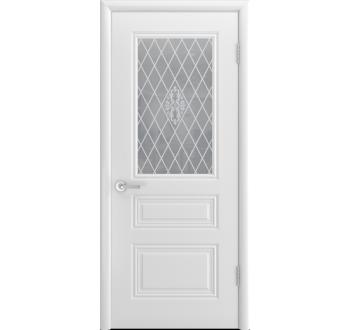 Межкомнатная дверь Трио - С белая без патины со стеклом
