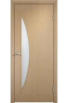Межкомнатная дверь Тип С-06 беленый дуб стекло Сатинато