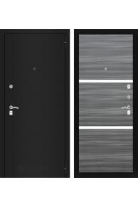 Входная дверь CLASSIC шагрень черная - Сандал серый горизонтальный со стеклом SALE!