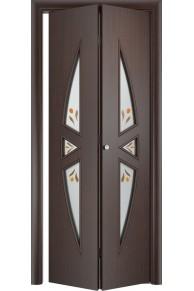 Межкомнатная дверь складная Тип С-01 венге стекло