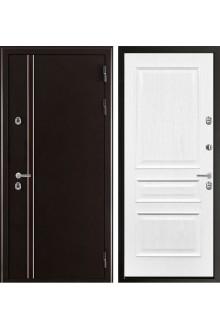 Входная дверь с терморазрывом Норд2 (муар коричневый/ Мтлан ясень белый жемчуг)