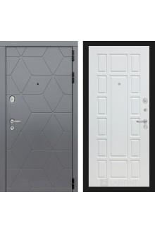 Входная металлическая дверь Лабиринт Cosmo 12 Графит- Белое дерево