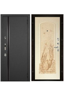 Уличная входная металлическая дверь с терморазрывом Норд Геона (Муар искра - Айвори перламутр)