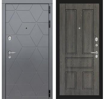 Входная металлическая дверь Лабиринт Cosmo 10 Графит-Дуб филадельфия графит