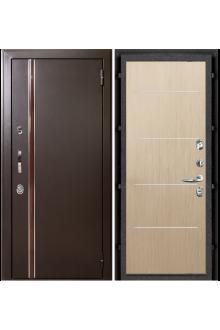 Входная  металлическая дверь с терморазрывом Норд муар коричневый (Лайт бел/дуб)