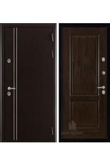Входная дверь с терморазрывом Норд 2 Селена (Муар коричневый/Орех античный)