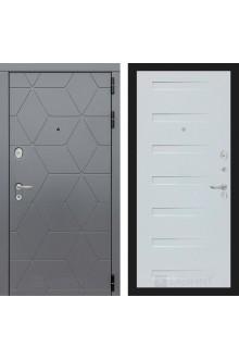 Входная металлическая дверь Лабиринт Cosmo 14 Графит-Дуб кантри белый