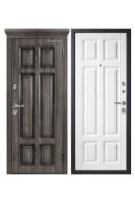 Входная металлическая дверь МетаЛюкс Статус М706.3 Дуб серый+ патина-Белая текстурная (Улица)
