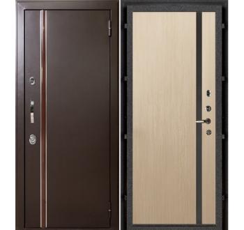 Входная  дверь с терморазрывом Норд муар коричневый (Техно 1 бел/дуб)