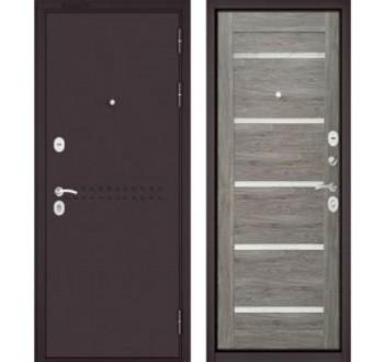 Входная металлическая дверь Бульдорс MASS 90 дуб дымчатый СR-3 царга Lakabel Cristal
