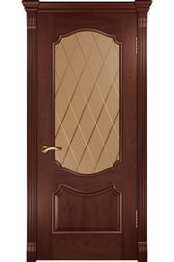 Межкомнатная дверь Венеция красное дерево бронза.