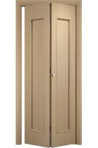 Межкомнатная дверь складная Тип С-21 беленый дуб глугая