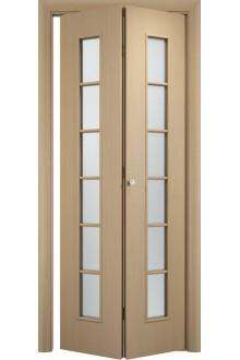 Межкомнатная складная Дверь Тип С-12 беленый дуб Айс