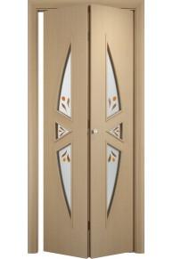 Межкомнатная дверь складная Тип С-01 беленый дуб стекло
