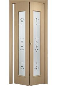 Межкомнатная дверь складная Тип С-21 беленый дуб (барокко) 1