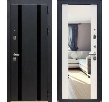 Металлическая дверь Зетта  ПРЕМЬЕР 3 КБ1 Кора чёрная F062 / Венге белый - зеркало