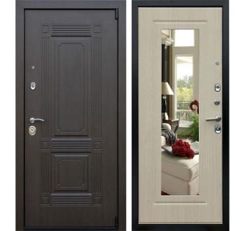 """Дверь входная с зеркалом Империя """"Викинг"""" Венге - белёный дуб"""