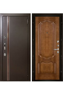 Уличная входная металлическая дверь с терморазрывом Норд Премьера (Муар коричневый - Каштан тон 11)