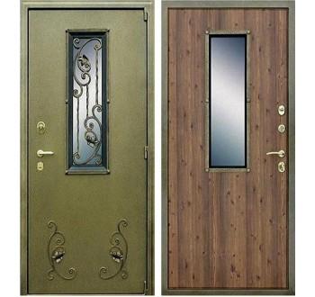 Входная уличная металлическая дверь с окном и ковкой