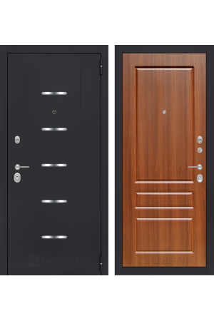 Входная металлическая дверь Лабиринт АЛЬФА 03 - Сандал белый, Орех бренди или Орех премиум
