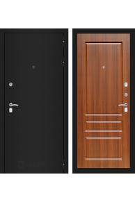 Входная металлическая дверь Лабиринт CLASSIC шагрень черная 03 - Орех бренди