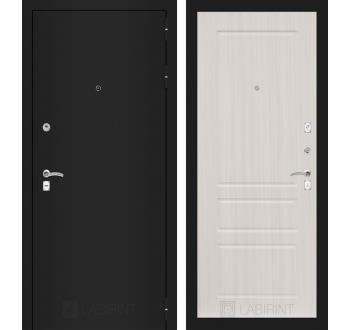 Входная металлическая дверь Лабиринт  CLASSIC шагрень черная 03 - Сандал белый