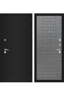 Входная металлическая дверь Лабиринт CLASSIC шагрень черная 09 - Лен сильвер грей