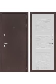 Входная дверь Лабиринт CLASSIC антик медный 06 - Белое дерево, Сандал серый