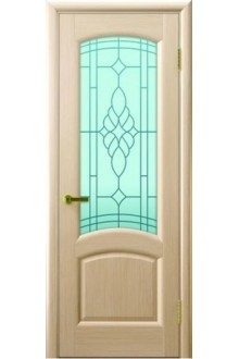 Межкомнатная дверь остекленная Лаура беленый дуб