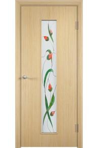 Межкомнатная дверь С-21 шпон белённый дуб Изумруд.