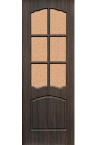 Межкомнатная дверь Альфа ПВХ ламинированная венге стекло.